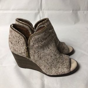LUCKY BRAND Open Toe Wedge Booties Ankle Boots 6